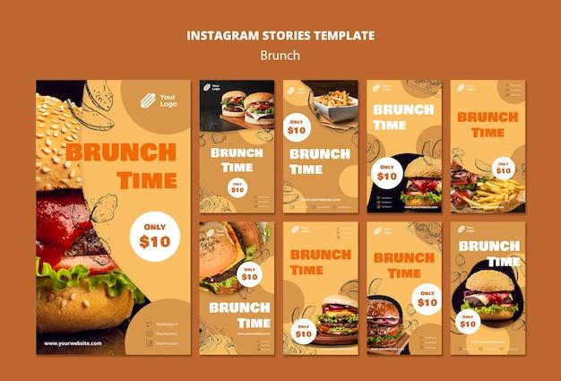 Coleção de histórias do instagram para brunch
