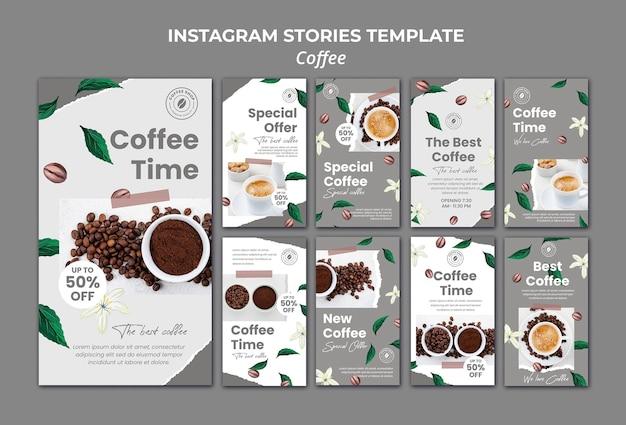 Coleção de histórias do instagram para café