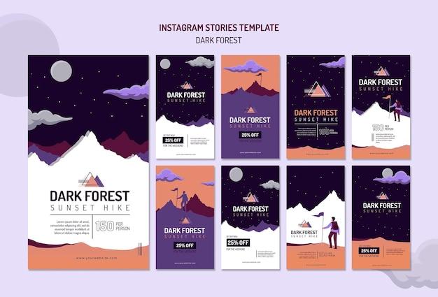 Coleção de histórias do instagram para caminhadas na floresta escura