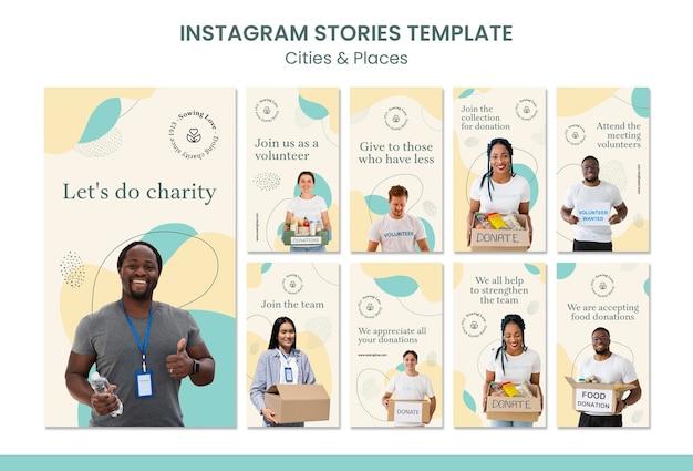 Coleção de histórias do instagram para caridade e doação