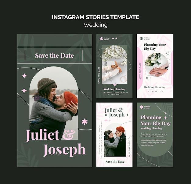 Coleção de histórias do instagram para casamento