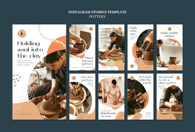 Coleção de histórias do instagram para cerâmica com vasos de barro
