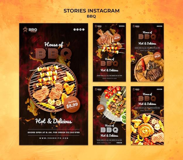 Coleção de histórias do instagram para churrasco