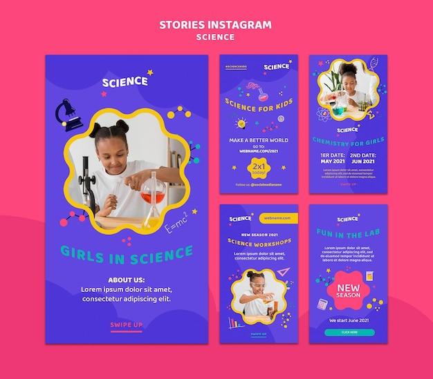 Coleção de histórias do instagram para ciência infantil