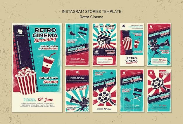 Coleção de histórias do instagram para cinema retrô