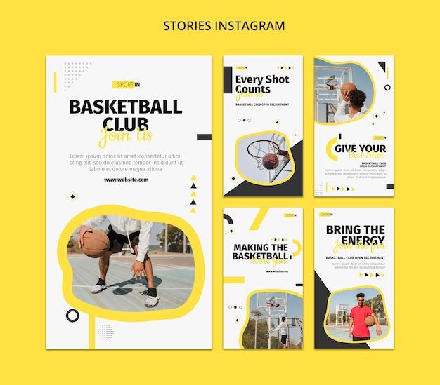 Coleção de histórias do instagram para clube de basquete