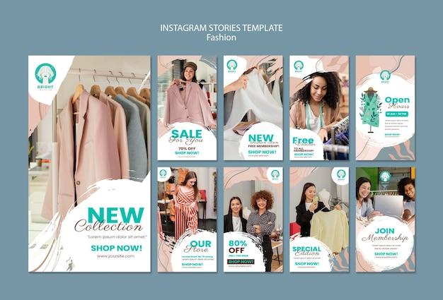 Coleção de histórias do instagram para coleção de moda