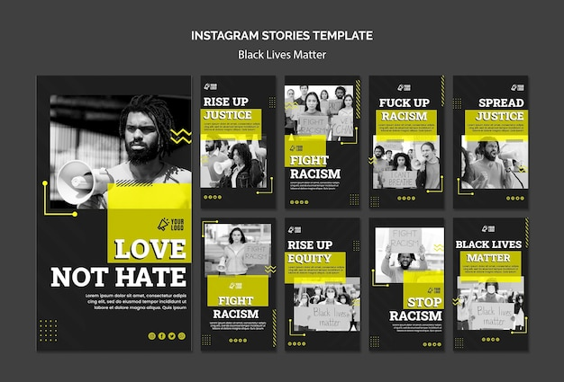 Coleção de histórias do instagram para combater o racismo Psd grátis