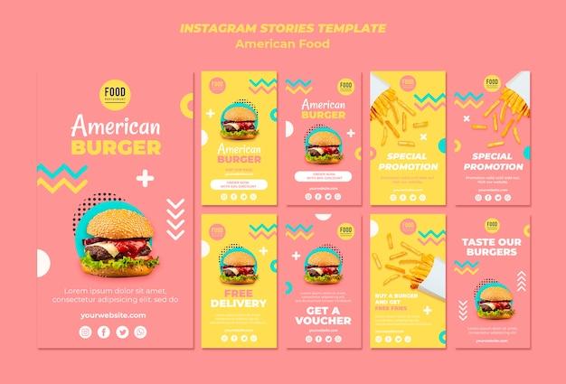 Coleção de histórias do instagram para comida americana com hambúrguer