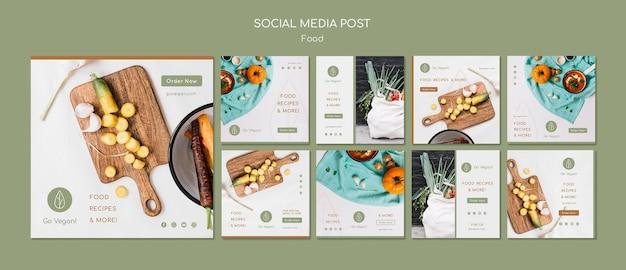 Coleção de histórias do instagram para comida vegana