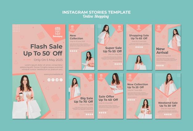 Coleção de histórias do instagram para compras on-line com venda