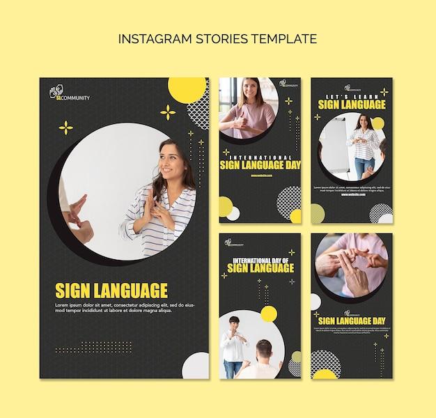 Coleção de histórias do instagram para comunicação em linguagem de sinais