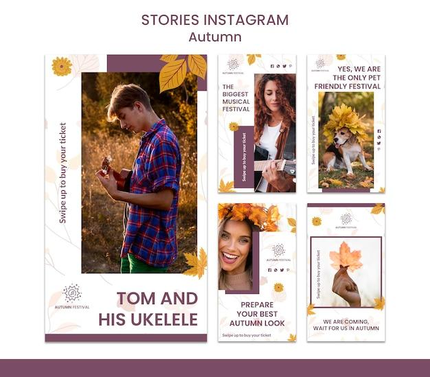 Coleção de histórias do instagram para concerto de outono