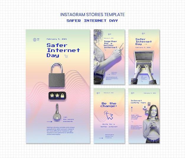 Coleção de histórias do instagram para conscientização de um dia mais seguro na internet