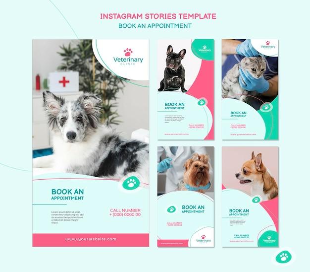 Coleção de histórias do instagram para consulta com o veterinário