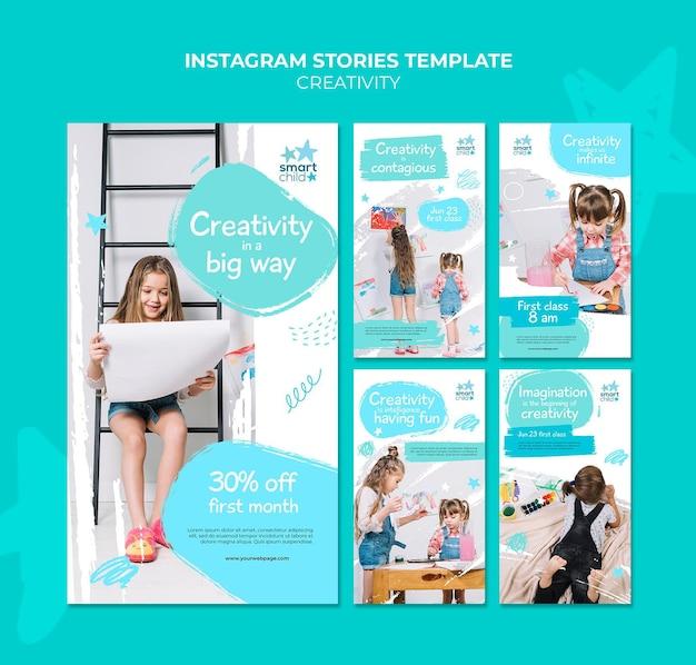 Coleção de histórias do instagram para crianças criativas se divertindo