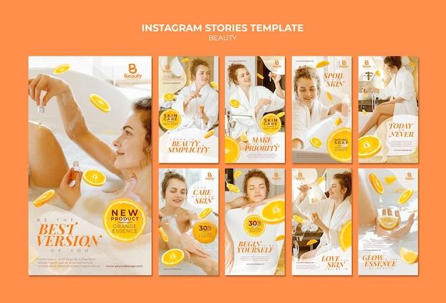 Coleção de histórias do instagram para cuidados com a pele de spa em casa com fatias de mulher e laranja