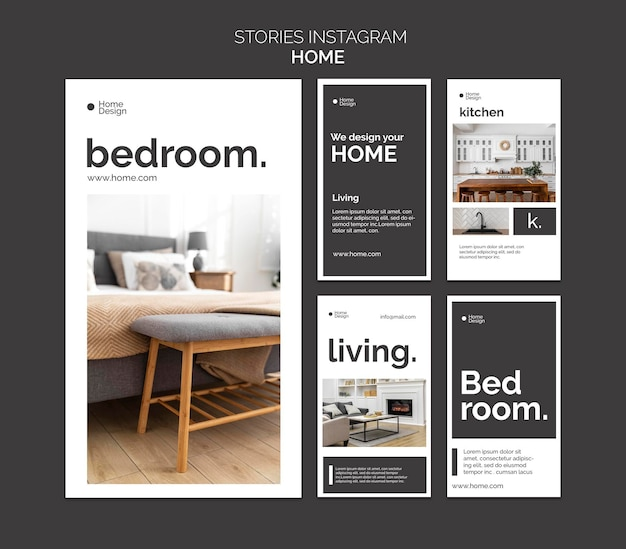 Coleção de histórias do instagram para decoração de interiores com móveis