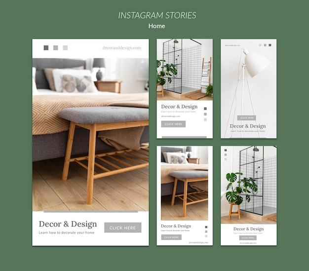 Coleção de histórias do instagram para decoração e design de casa