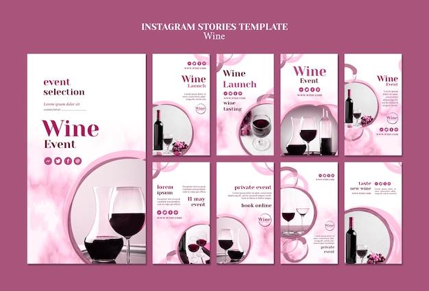 Coleção de histórias do instagram para degustação de vinhos