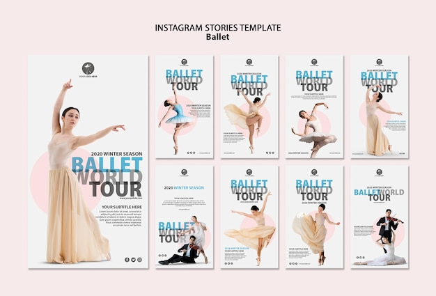 Coleção de histórias do instagram para desempenho de balé