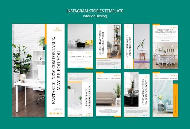 Coleção de histórias do instagram para design de interiores