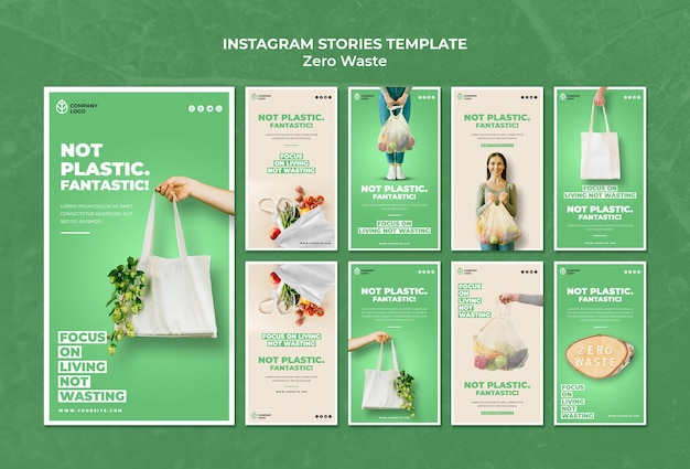 Coleção de histórias do instagram para desperdício zero