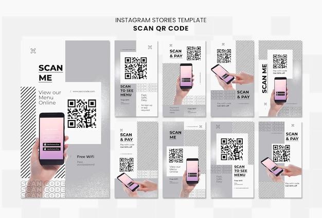 Coleção de histórias do instagram para digitalização de código qr com smartphone