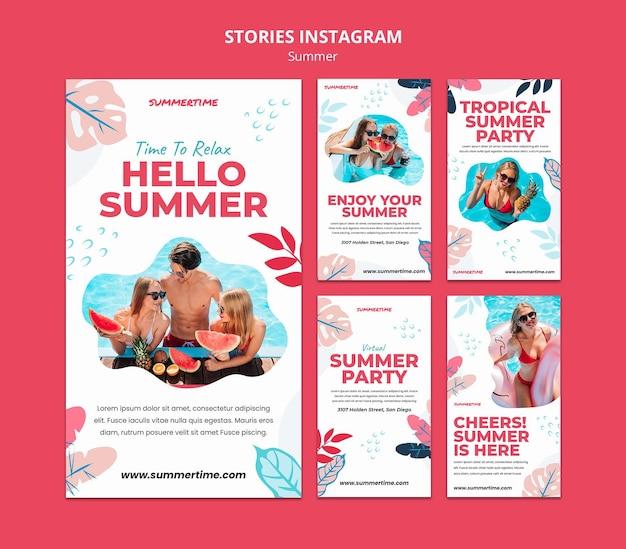 Coleção de histórias do instagram para diversão de verão na piscina