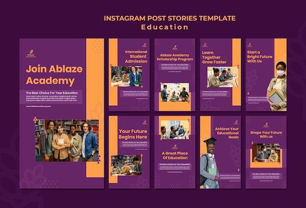 Coleção de histórias do instagram para educação universitária