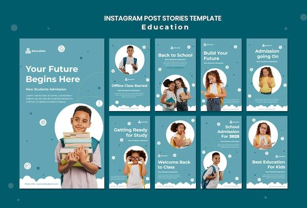 Coleção de histórias do instagram para educação