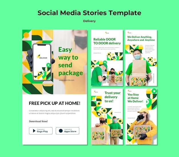 Coleção de histórias do instagram para empresa de entrega