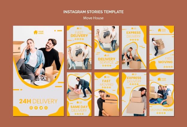 Coleção de histórias do instagram para empresa de mudanças de casas