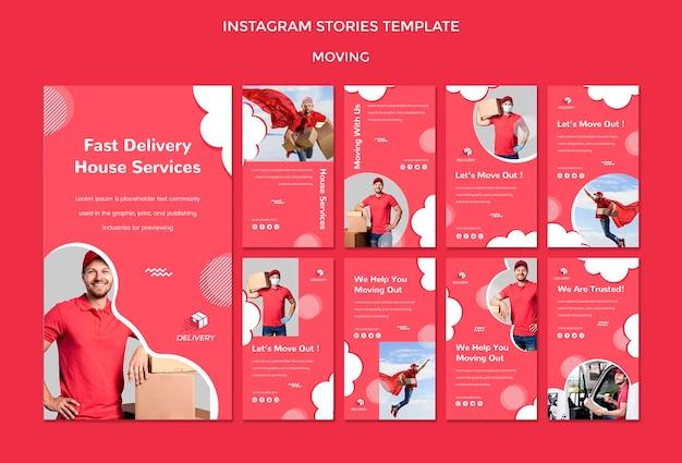 Coleção de histórias do instagram para empresa de mudanças