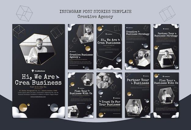 Coleção de histórias do instagram para empresa parceira de negócios