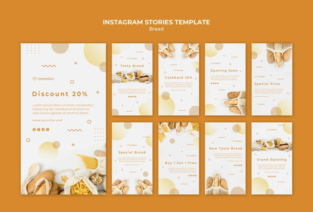 Coleção de histórias do instagram para empresas de culinária de pão