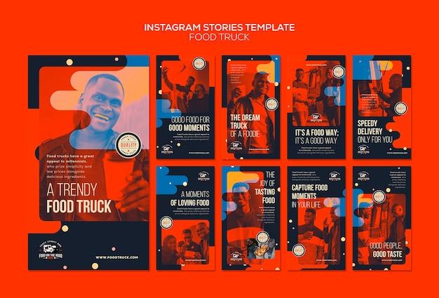 Coleção de histórias do instagram para empresas de food truck