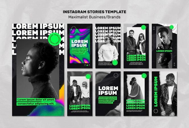 Coleção de histórias do instagram para empresas maximalistas