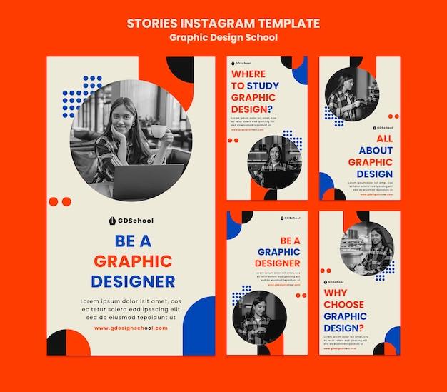 Coleção de histórias do instagram para escola de design gráfico