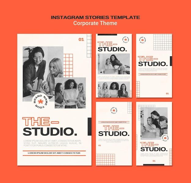 Coleção de histórias do instagram para estúdio corporativo