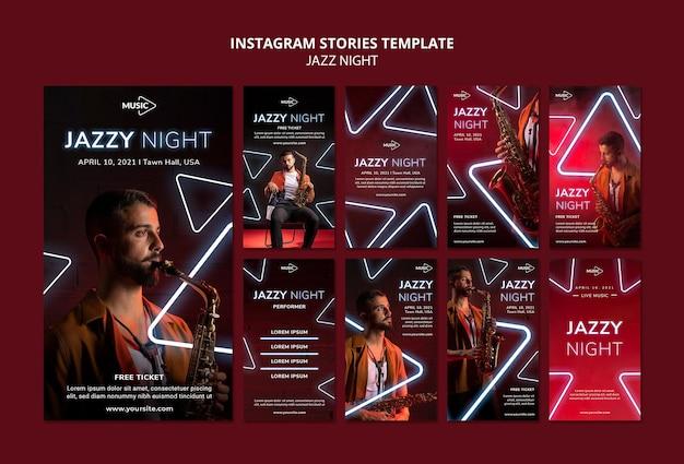 Coleção de histórias do instagram para evento noturno de jazz neon