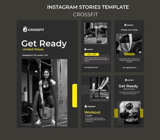 Coleção de histórias do instagram para exercícios crossfit