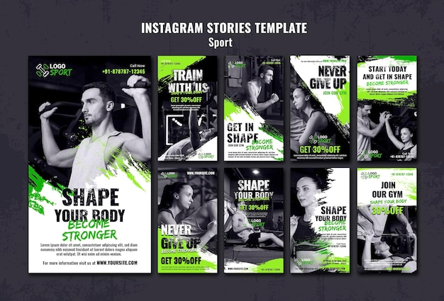 Coleção de histórias do instagram para exercícios e treinamento de ginástica