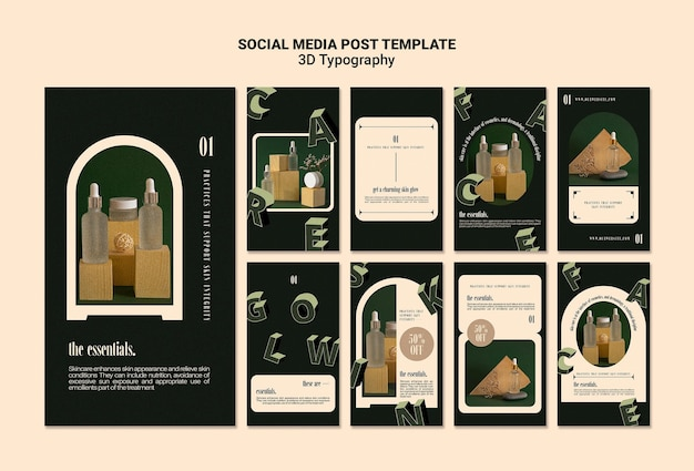 Coleção de histórias do instagram para exibição de garrafas de óleo essencial com letras tridimensionais