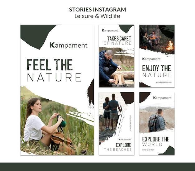 Coleção de histórias do instagram para exploração e lazer da natureza