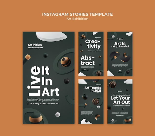 Coleção de histórias do instagram para exposição de arte com formas geométricas
