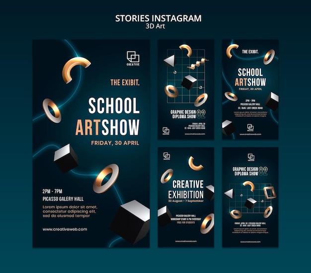 Coleção de histórias do instagram para exposição de arte com formas tridimensionais criativas