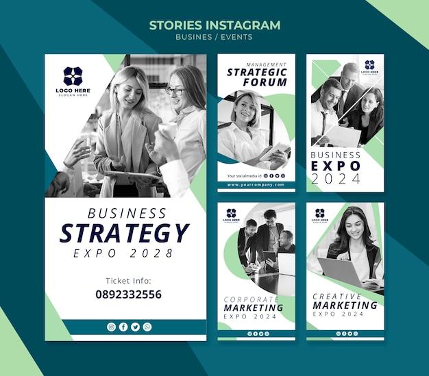 Coleção de histórias do instagram para exposição de negócios