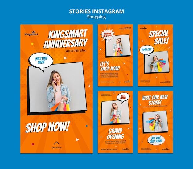 Coleção de histórias do instagram para fazer compras com uma mulher segurando sacolas de compras