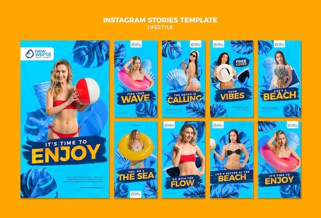 Coleção de histórias do instagram para férias de verão na praia